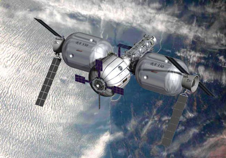 This artist's conception shows an orbital complex assembled from Bigelow Aerospace's inflatable modules.