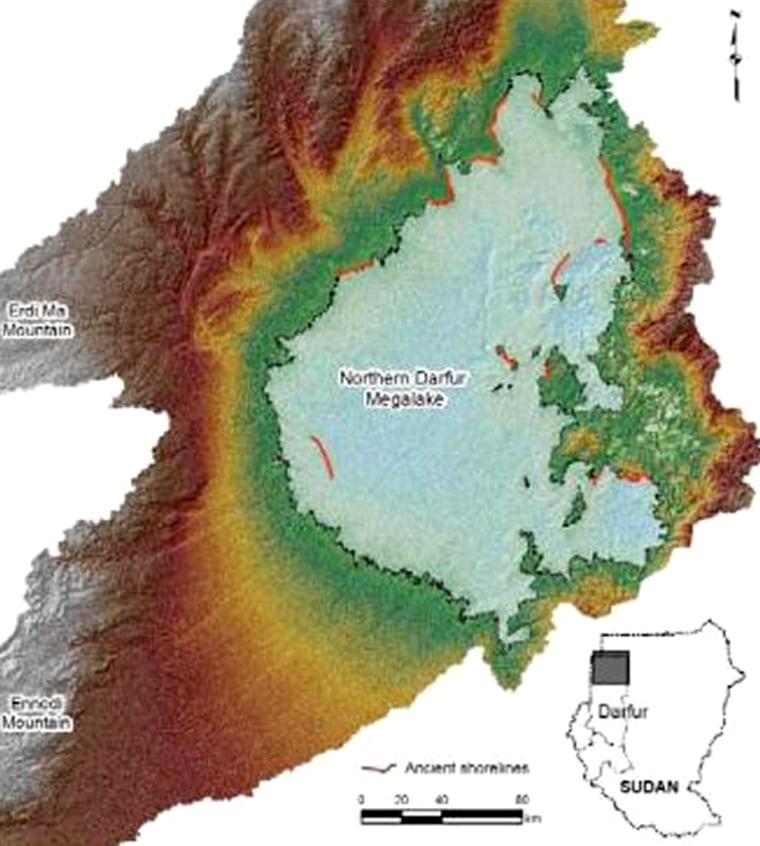 Dubbed Northern Darfur Mega-Lake, an ancient basin was discovered in Darfur.