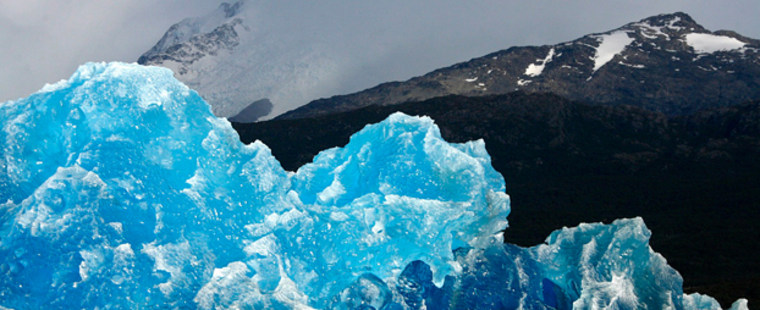 A mass of ice broken off the Upsala glacier floats on the waters of Lago Argentino in the Parque Nacional Los Glaciares