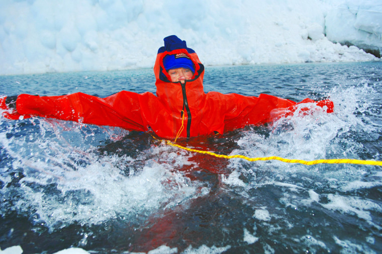 Rosie Stancer trains in Resolute Bay, Canada, onMarch 4 before she set off alonefor the North Pole. The training was in case she fell through thin ice into freezing water.