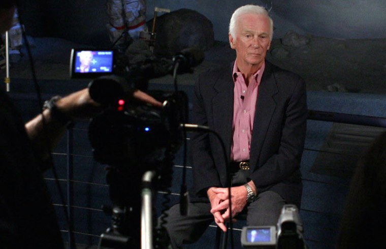 """Former astronaut Gene Cernan, the last man to walk on the moon, faces the camera during the filming of the space documentary """"The Wonder of It All."""""""