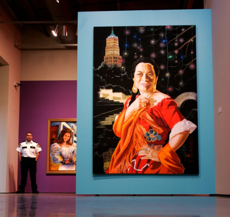 """""""Rosita,"""" a painting by artist Jesse Trevino, awaits visitors to the Museo Alameda, the nation's largest museum dedicated to Latino culture and art, in San Antonio. The new museum opened to the public on Friday."""