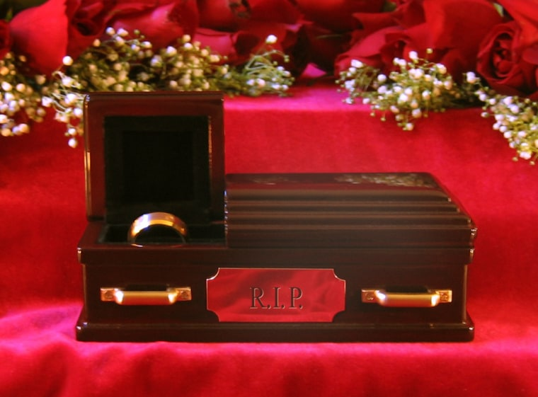 The Wedding Ring Coffin can put put your failed marriage in its final resting place.