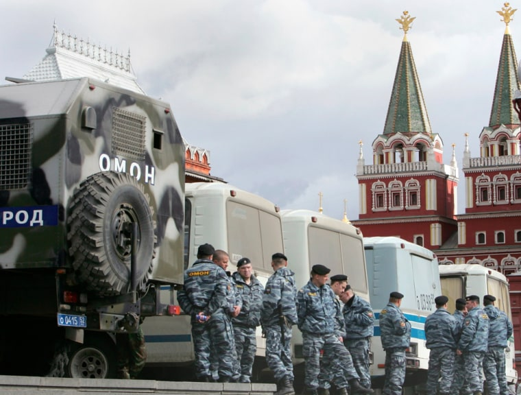 Special police officers gather near Red Square in central Moscow