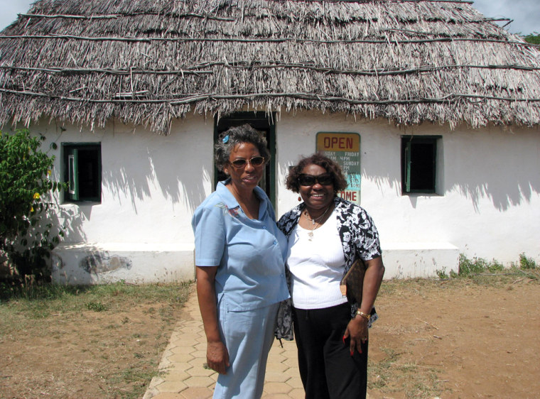 Gene van der Hilst, left, and Kay S. Queally, take a break while touring Curacao's countryside last year.
