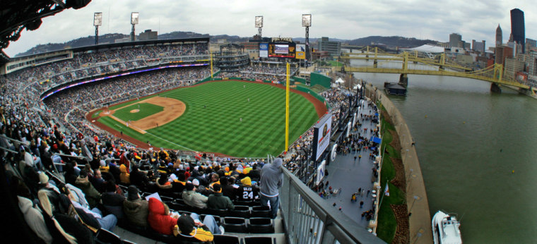 Fans have been flocking to the new-model ballparks, asthis sellout crowd did at PNC Park in Pittsburgh to watch the Pirates' home opener against the St. Louis Cardinalsearlier this month.