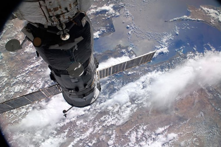 Iranian-American space tourist Anousheh Ansari took this photo looking down at Earth from the international space station in September 2006.