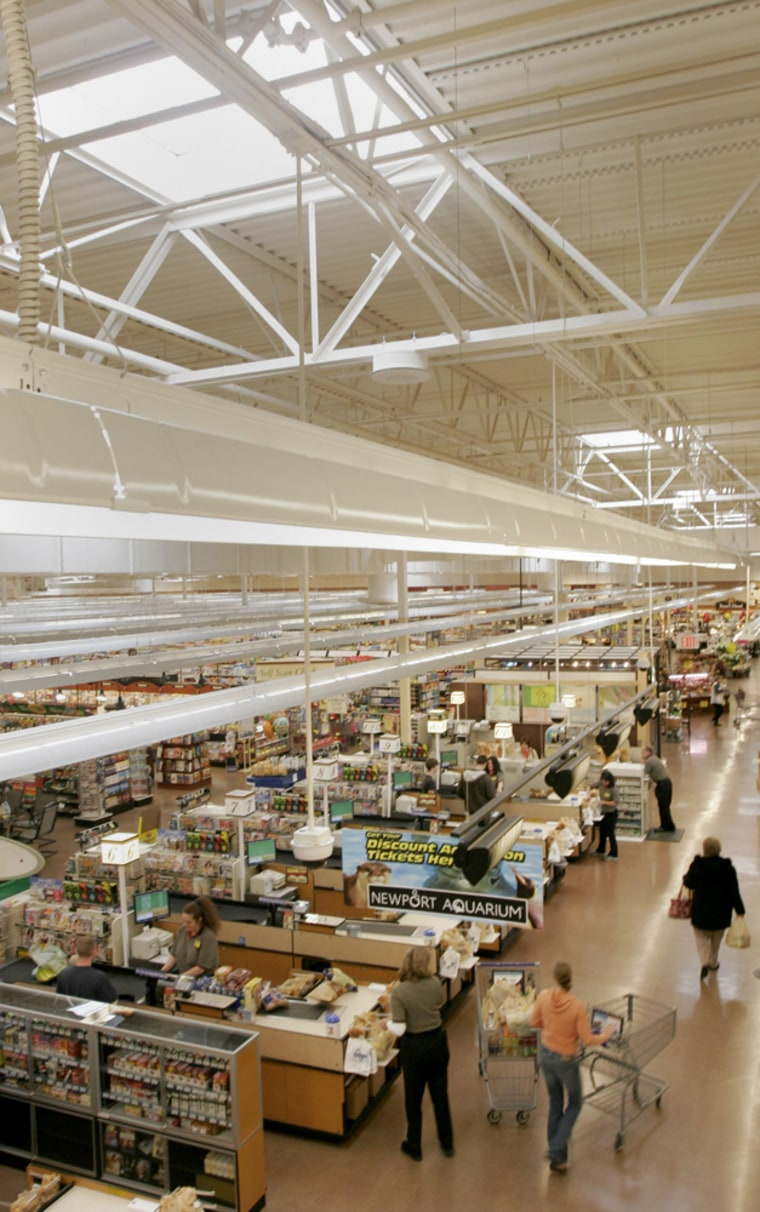 The prototype Kroger store is using skylights for solar lighting and heating and various other energy-saving features. Grocery shoppers at the new Kroger Co. store in this eastern Cincinnati suburb are bathed in sunlight, from rows of 75 skylights.