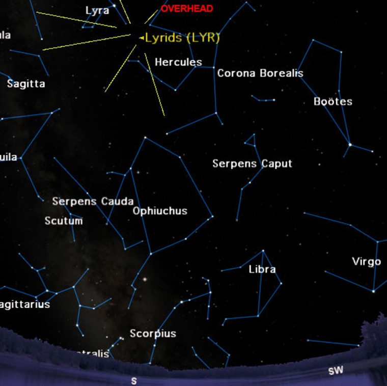 The sky as seen at 4:30 a.m. on April 22 from mid-northern latitudes.