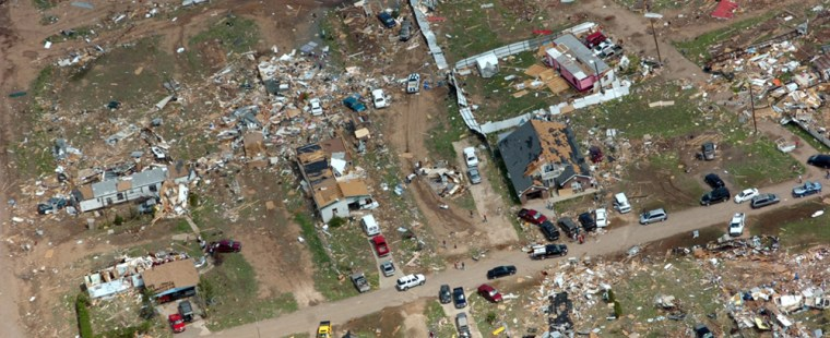 Aerial view of Cactus, Texas, Sunday, after a violent storm late Saturday.