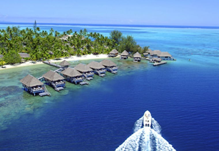 The bungalows on stilts above the lagoon are the main draw here, and Hotel Bora Bora has dressed them up, creating the perfect honeymoon cocoon with four-poster beds draped in netting, his-and-hers pareos, Frette linens and large cast-iron soaking tubs.