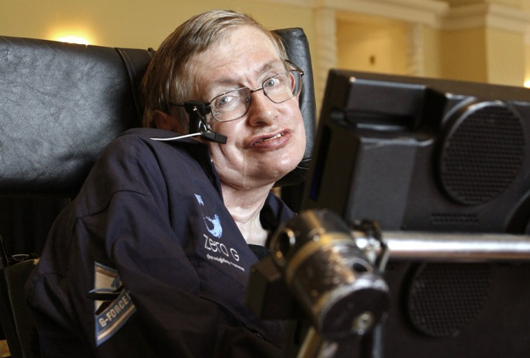 Stephen Hawking answers questions during an interview in Orlando, Florida
