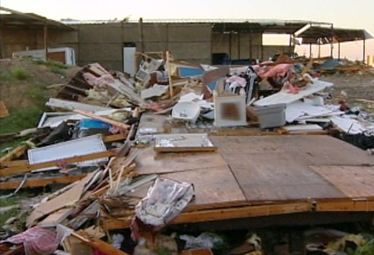 Scenes along the Texas-Mexico border Wednesday morning included this structure demolished by the tornado Tuesday night.