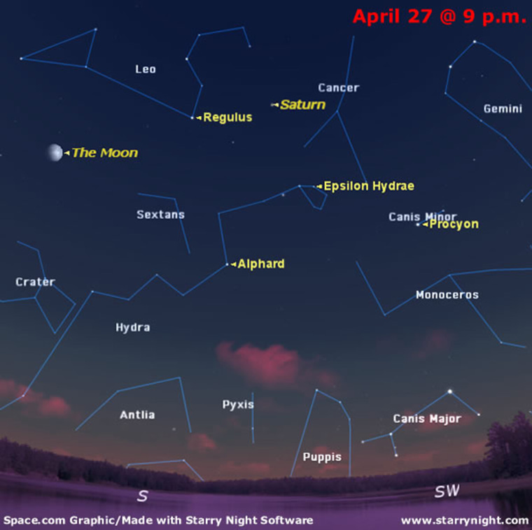 SKY MAP: The sky as seen at 9 p.m. on April 27 from mid-northern latitudes.