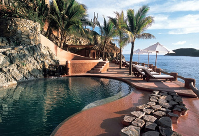 Enjoy the spectacular view of Zihuatanejo Bay at La Casa Que Canta, Zihuatanejo. Get a preview by watching Meg Ryan and Andy Garcia enjoying the resort's infinity pool in '.