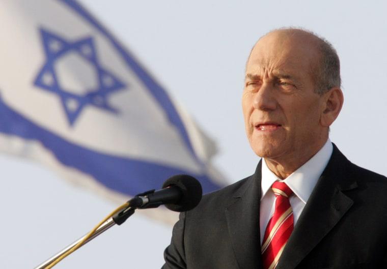 Israeli Prime Minister Ehud Olmert deliv