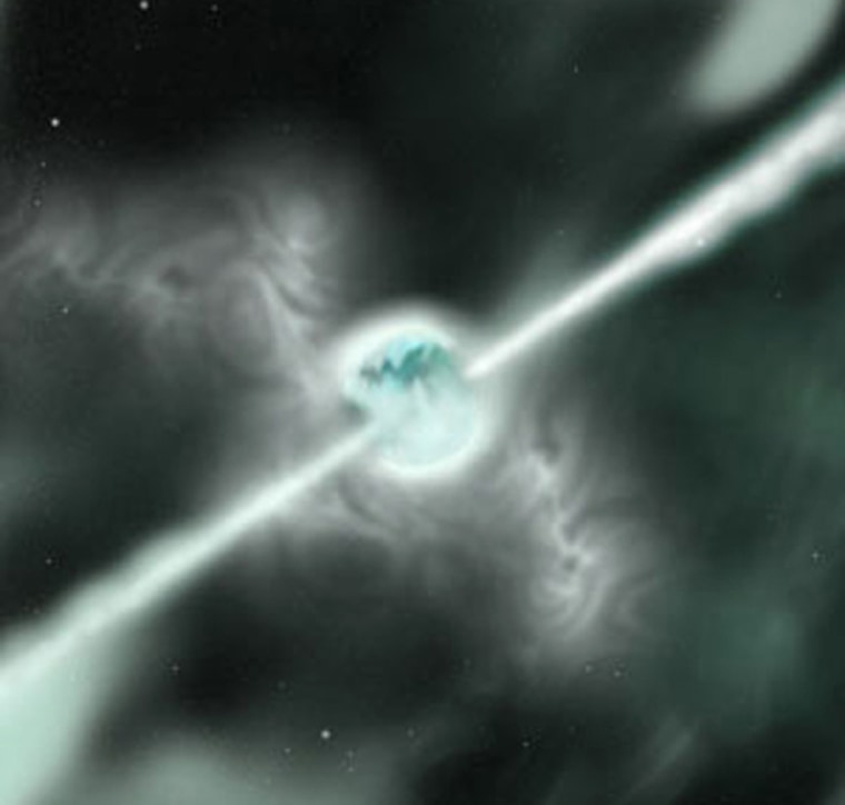 Anartist's rendering shows a star as it explodes outward, causing a supernova.