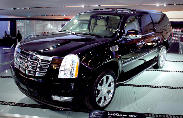 The 2007 Cadillac Escalade ESV makes its world debut on the show floor at the North American International Auto Show in Detroit
