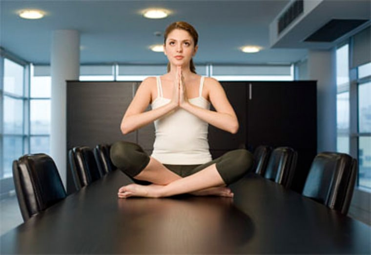 Does the idea of doing yoga in a conference room at work sound silly? It might be just what you need to relieve stress.