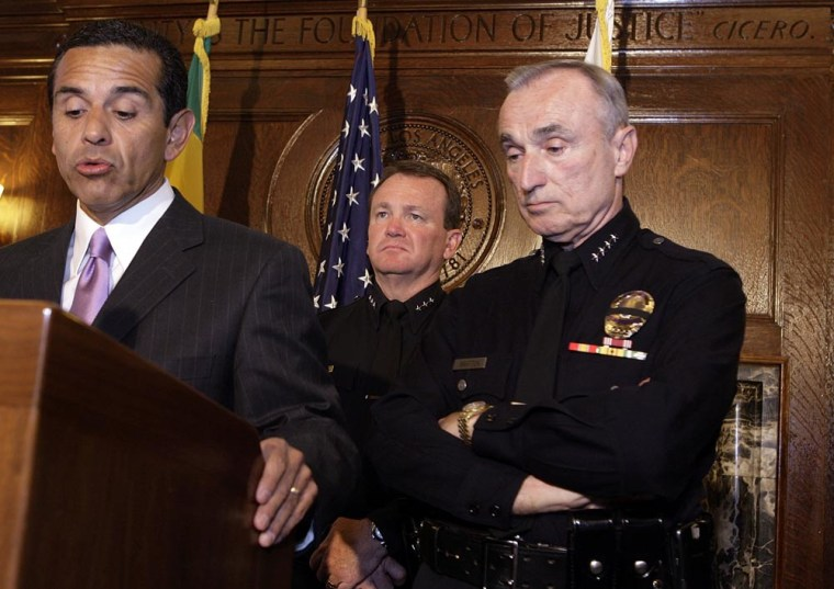 Los Angeles Mayor Antonio Villaraigosa, left, announces measures Monday by Los Angeles Police Chief William Bratton, right, during a news conference to discuss changes in the Los Angeles Police Department's command staff in the aftermath ofthe May Day immigration rights rally at MacArthur Park.