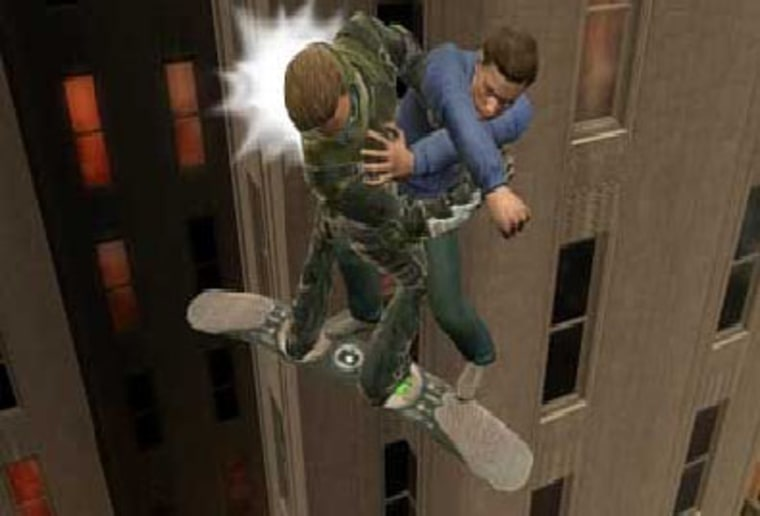 Peter Parker and New Goblin mix it up high above the streets of Manhattan.