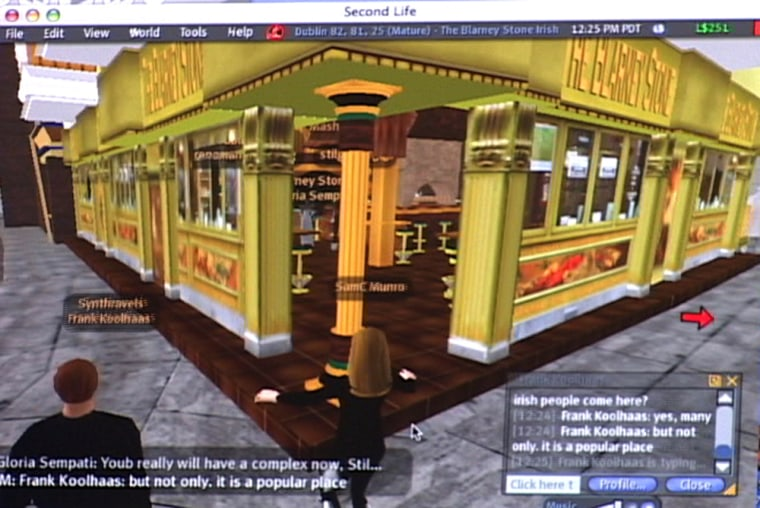 In this video image of a computer screen in New York, during the author's tour of virtual world 'Second Life,' her avatar, center, is about to enter The Blarney Stone pub with a tour guide, left, in virtual Dublin. With the help of elaborate locales designed and built by 'Second Life' residents, tourists can watch their online embodiments - known as their avatars - interact with other users, lounge at the beach, dine at a romantic restaurant, or go out dancing at a crowded nightclub.
