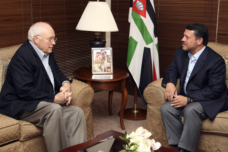 Jordan's King Abdullah, right, meets with Vice President Dick Cheney at the Red Sea port city of Aqaba on Monday.