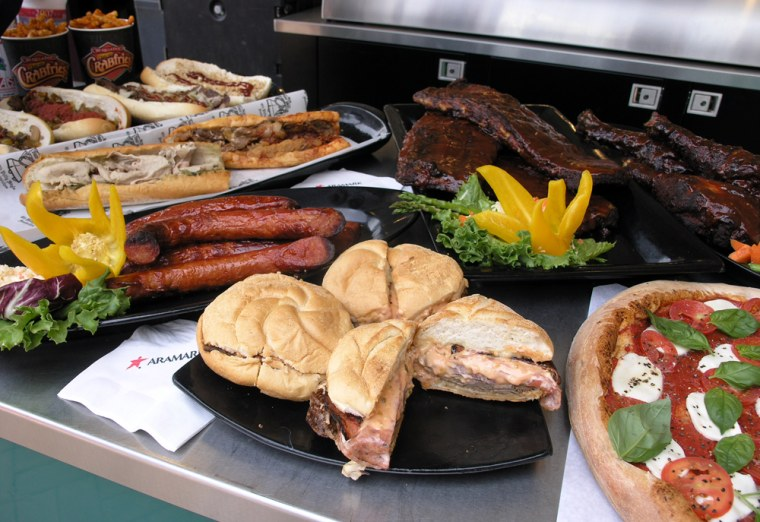 """A sampling of """"regional food"""" baseball fans can find at Citizens Bank Park, home of thePhiladelphia Phillies."""