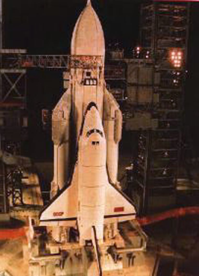 The Russian space shuttle Buran - whichlooked similar to the U.S. space shuttle - is perched on an Energia rocket in 1988.