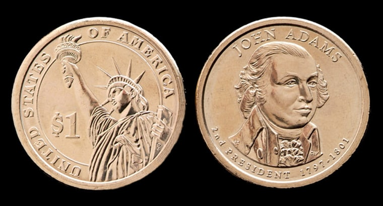 The John Adams presidential $1 coin. The second dollar coin in the new presidential series went into circulation around the country on May 17, 2007, with the U.S. Mint hoping it can turn 18th century statesman John Adams into a 21st century marketing phenomenon.