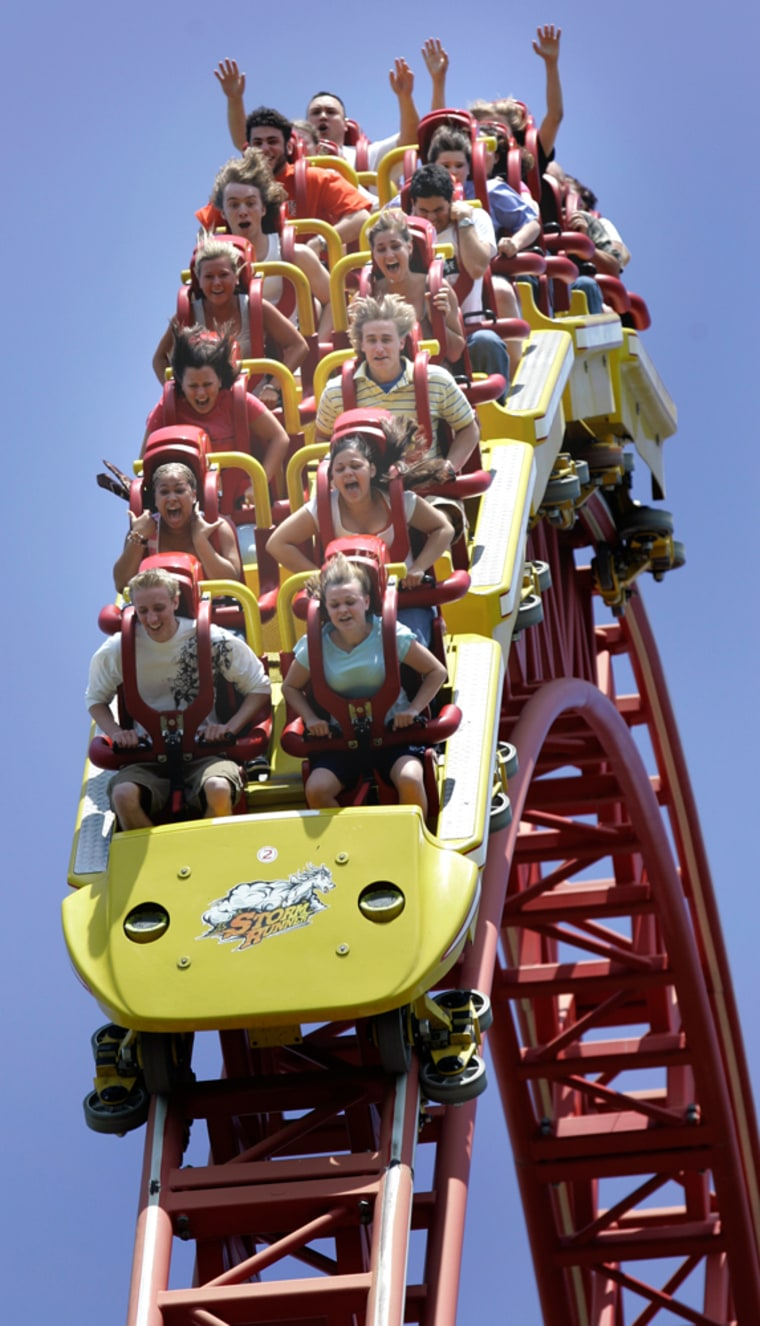 Riders scream as they go over a peak on the Storm Runner roller coaster at Hersheypark in Hershey, Pa. Hersheypark has evolved into a full-scale theme park with more than 60 rides and attractions, including 10 roller coasters and six water rides.