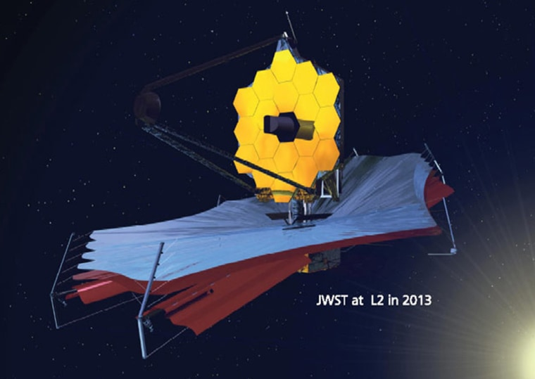 An artist's conception shows the James Webb Space Telescope at the L2 gravitational balance point after its deployment in 2013.