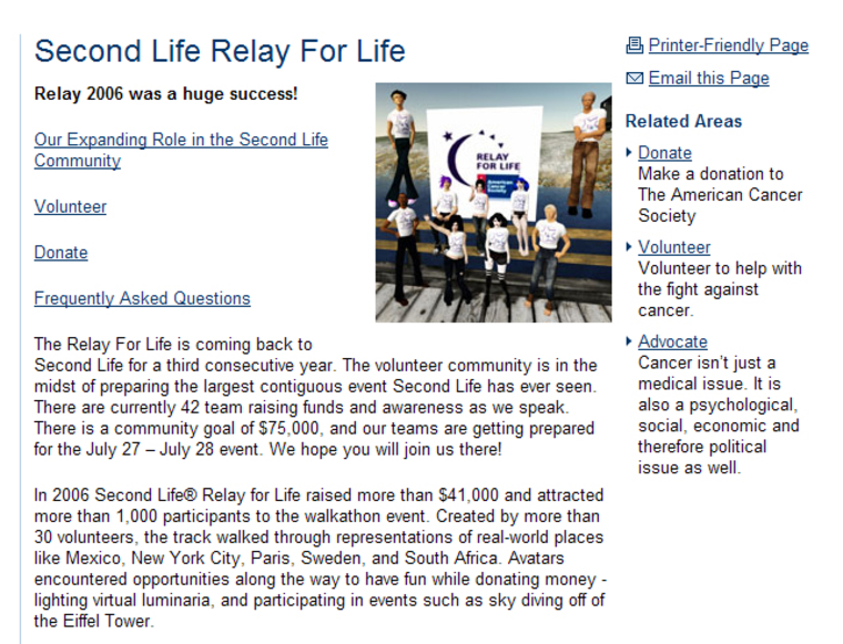 The American Cancer Society's Web site features some of the avatar participants who made the virtual Second Life Relay for Life walkathon a fund-raising success.