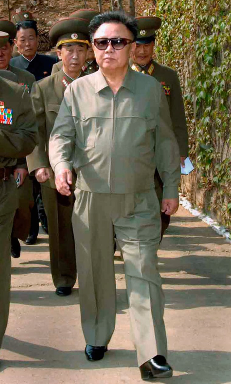 North Korean leader Kim Jong-il inspects Korean People's Army Unit 967 at an undisclosed location in North Korea