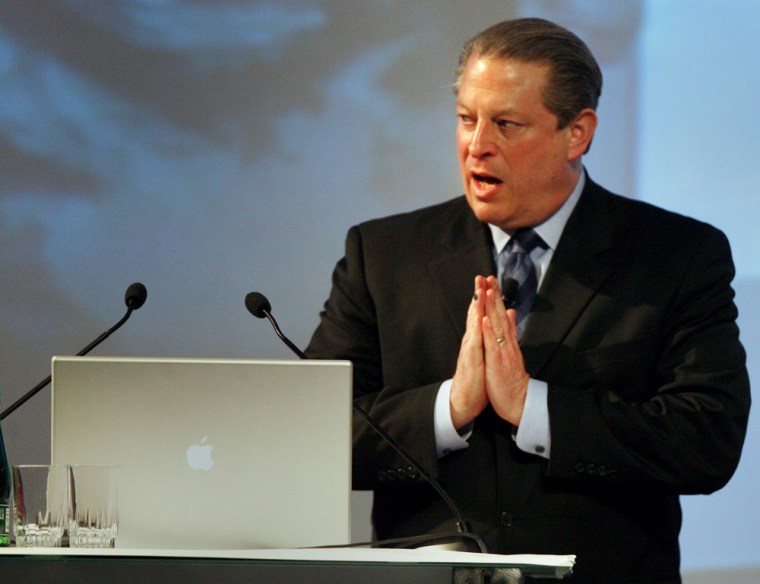 Former U.S. Vice President Gore speaks at the Closing Plenary Session of the Global Warming and Climatic Change Conference in Santiago