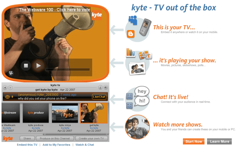Kyte, a free service that lets users create, share and view personalized content, has been in beta mode since last April.