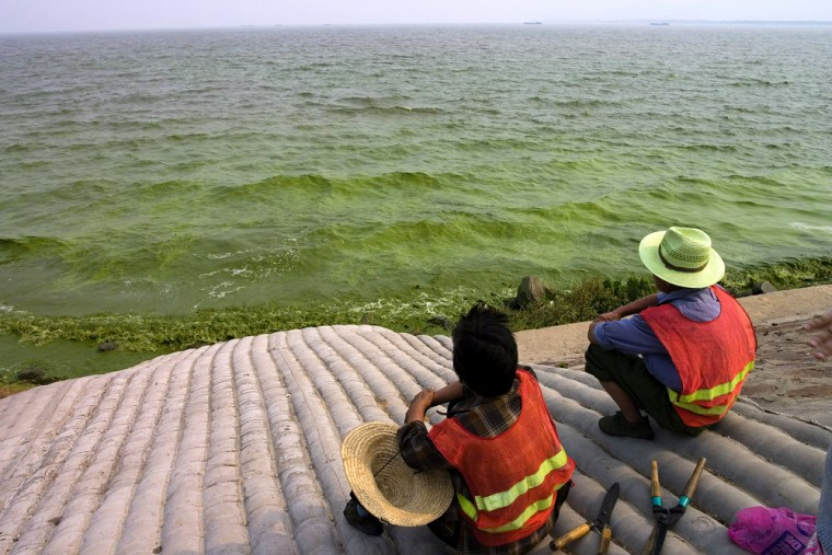 Workers look out to the once scenic Taih