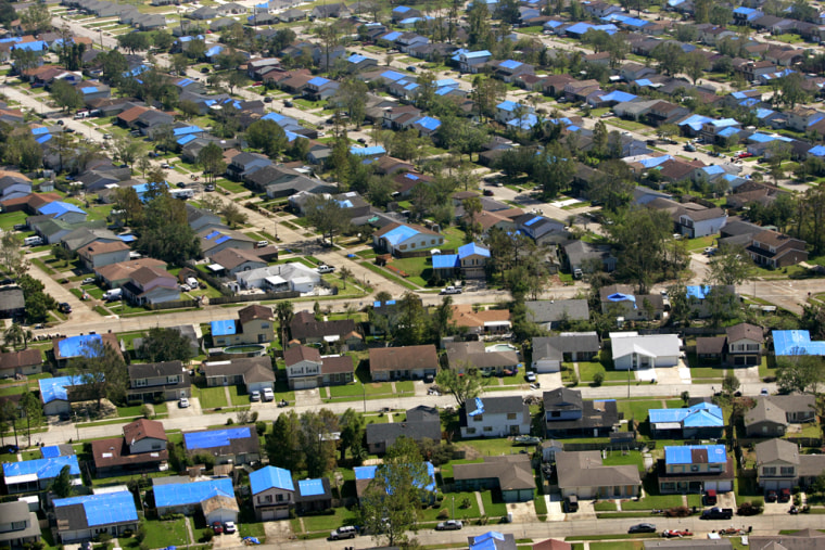 Blue tarps over a New Orleans neighborhood on Oct. 11, 2005 —six weeks after Katrina hit —reflect how widespread storm damage can be.