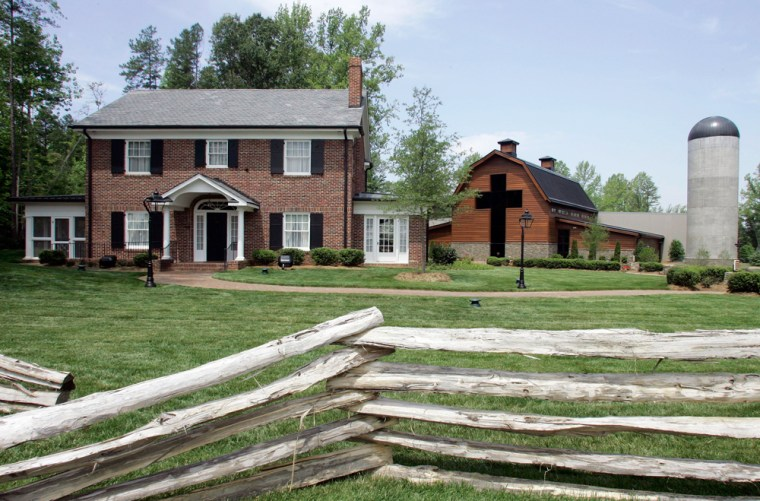 Billy Graham's childhood home, left, and the new Billy Graham Library, right, are shown in Charlotte, N.C., on Tuesday.