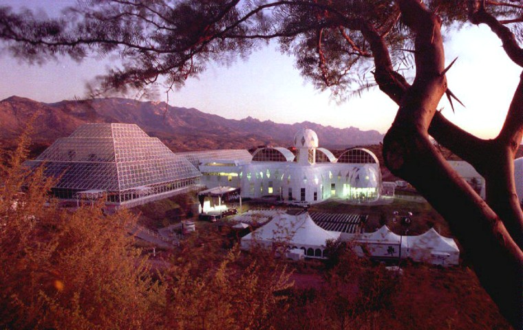 The Biosphere 2 research facility sits nestled in