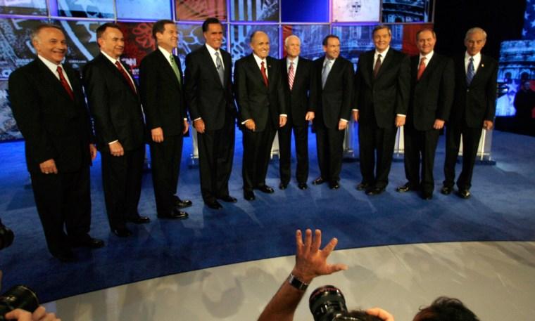 Sam Brownback, Jim Gilmore, Rudy Giuliani, Mike Huckabee, Duncan Hunter, John McCain, John McCain, Ron Paul, Mitt Romney, Tom Tancredo, Tommy Thompson