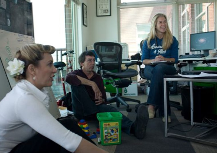 """Maxis has enjoyed huge success with its """"Sims"""" series. The company has also always had diverse development teams. From left, Jenna Chalmers, Will Wright andLucy Bradshaw discuss their upcoming title, """"Spore."""""""