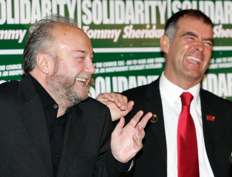 Respect political party leader Galloway laughs with Solidarity party leader Sheridan in Edinburgh, Scotland
