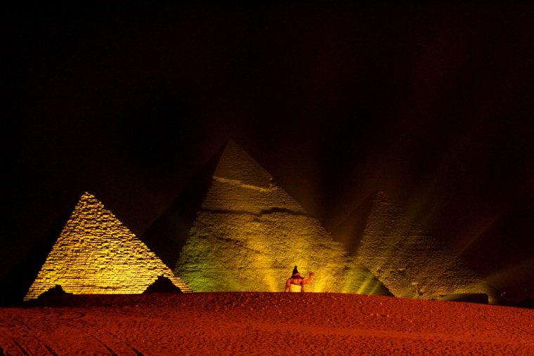 Camel patrol at pyramids