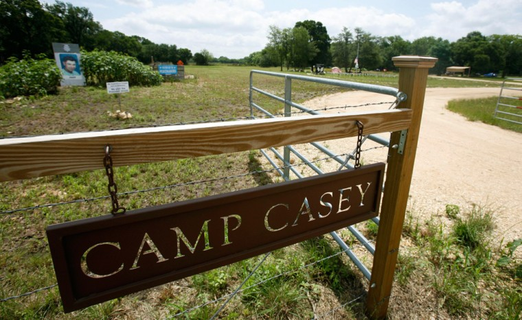Anti-war activist Cindy Sheehan's protest site, Camp Casey, is shown June 1 in Crawford, Texas. Sheehan is selling the 5-acre site near President Bush's Crawford ranch for $87,000 to California radio talk show host Bree Walker.