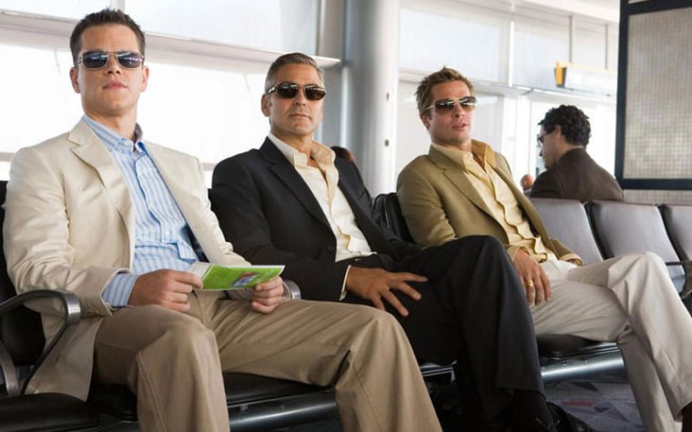 Ocean's 13's Matt Damon, George Clooney and Brad Pitt looking cool in shades.