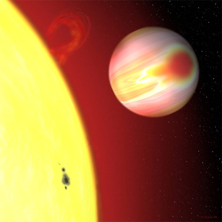 """An artist's conceptionshows the exoplanet HD 189733b, which some have dubbed the """"Bull's-Eye Planet"""" because of the bright hot spot shown here."""