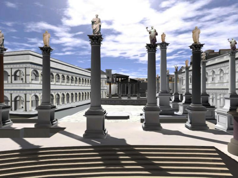 A computer-generated reconstruction from the Rome Reborn projectshows the Roman Forum as it is thought to have looked in the year 320 under Emperor Constantine, at the height of imperial power.