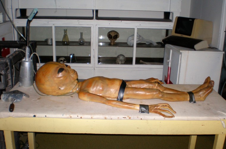 The Area 51 exhibit at the Alien Zone in Roswell, N.M., shows anemaciated alien corpse. Although purely fictional, it is the museum's most popular and photographed exhibition.