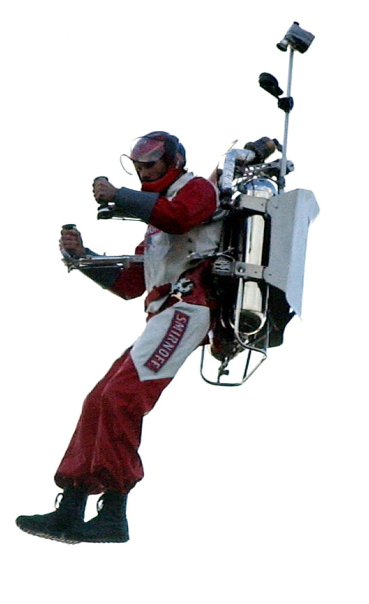 AMERICAN STUNTMAN ERIC SCOTT HOVERS IN THE SKY OVER LONDON USING A JETPACK